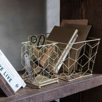 Gold Metal Storage Box | Home Accessories
